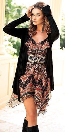 Print dress with handkerchief hem
