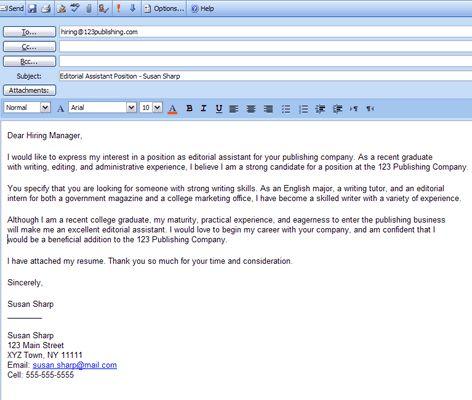 best formats for sending job search emails cover letter