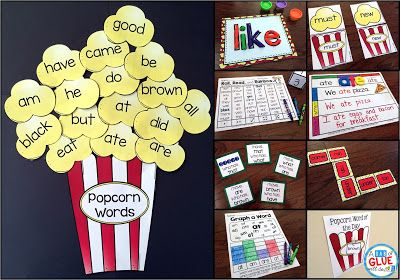Popcorn Words Bundle for Dolch and Fry Words. This product has it all for teaching sight words in a fun and interactive way throughout the year. There are posters, popcorn word walls, and tons of literacy center activities.