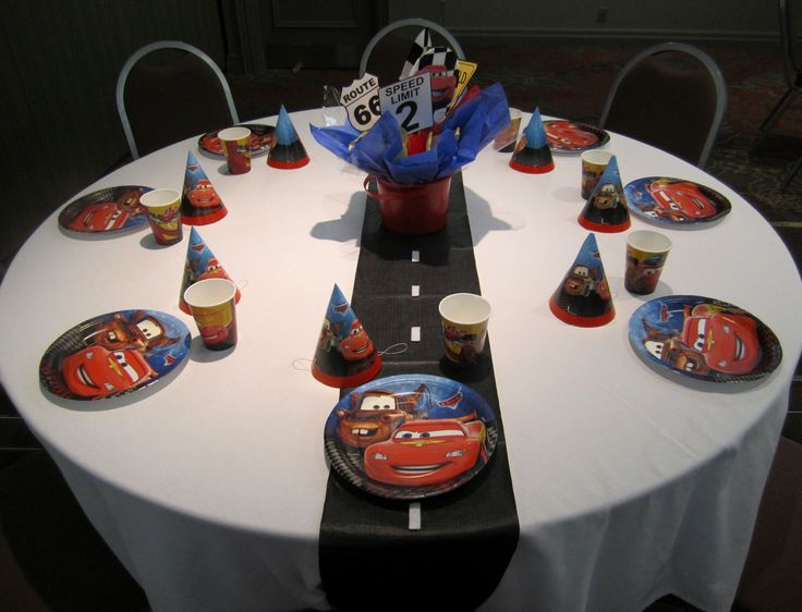 Kids Table With A Road Sign Centerpiece And Roadway Table