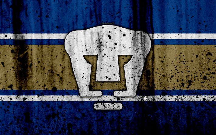 Download wallpapers UNAM Pumas, 4k, grunge, stone texture, logo, emblem, Primera Division, Mexican football club, Mexico City, Mexico, Club Universidad Nacional
