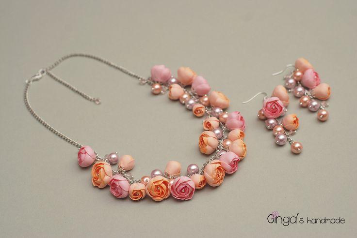 Polymer clay jewelry. fimo flowers. Handmade.