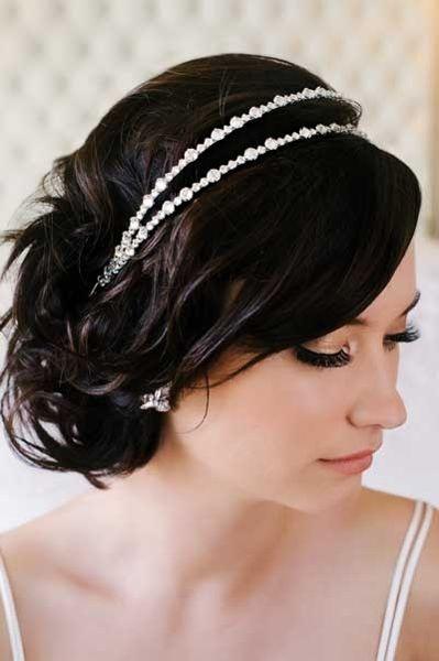 """Vera headband SWAROVSKI® crystal double headband. Approximately 1-1/4"""" wide."""