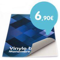 Vinyle Monomère blanc  Le vinyle monomérique est prévu pour des applications à courte de durée sur support plat.     Il peut être laminé en mat ou en brillant.     La colle est grise.
