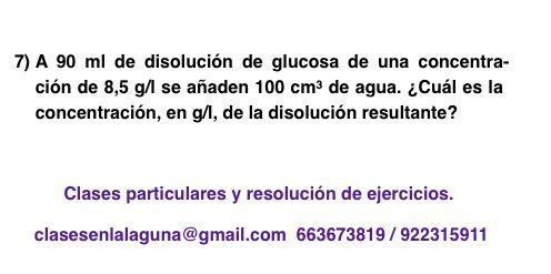 Ejercicio 7 propuesto de Concentración de disoluciones: gramo / litro