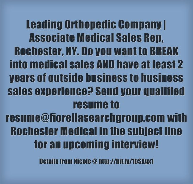 REPIN if you or someone you know would be interested in this job - orthopedic sales representative sample resume