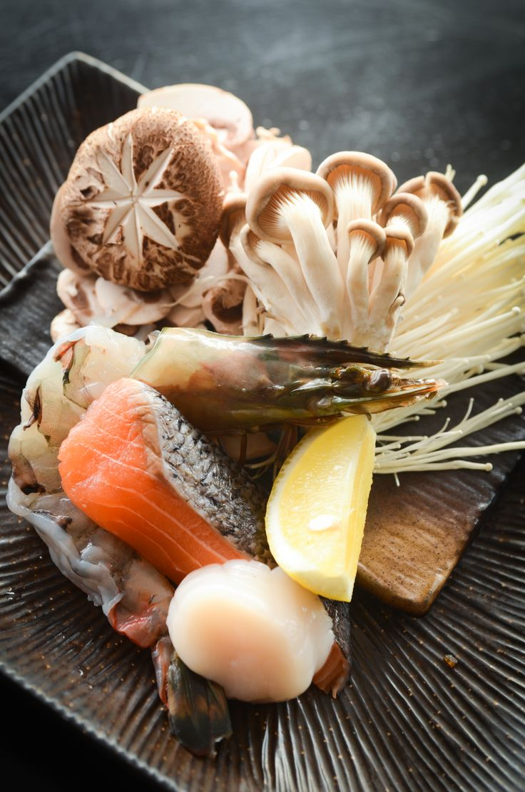 Seafood & mushrooms to cook on your very own hot rock, at Kobe Jones Melbourne. While looking over at the Yarra River! Perfect way to share a romantic dinner