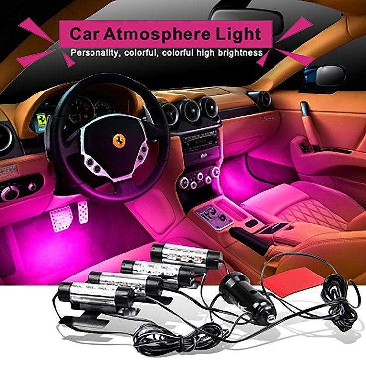 Attrayant 4x 3LED Charge De Voiture 12 V 4 W Glow Décoratif Intérieur 4in1 Ambiance Bleu Lumière Lampe Atmosphère Intérieure Pieds lampe AJ