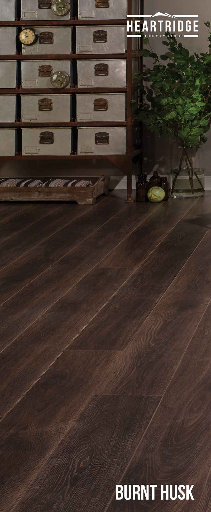 Heartridge Laminate Flooring in Smoked Oak, Burnt Husk