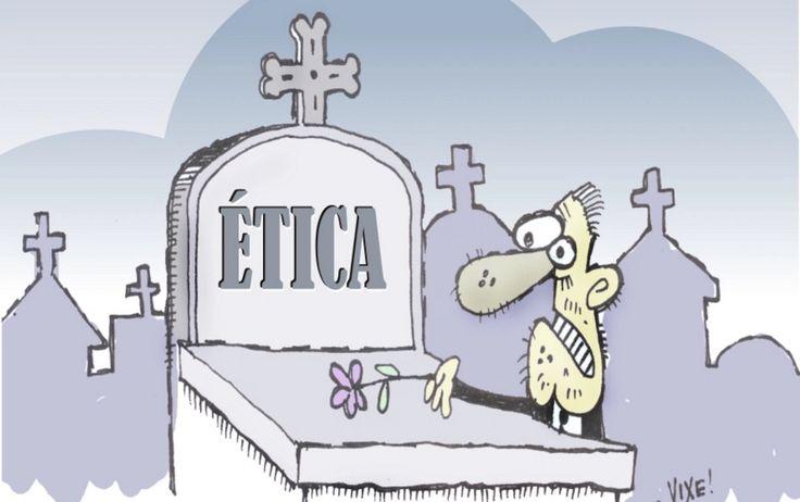 Charge do Spon Holtz  -pai: o q é ética, moral decência, verdade, caráter, probidade, honradez? - se nem o pres. da república sabe, vc que q eu saiba?