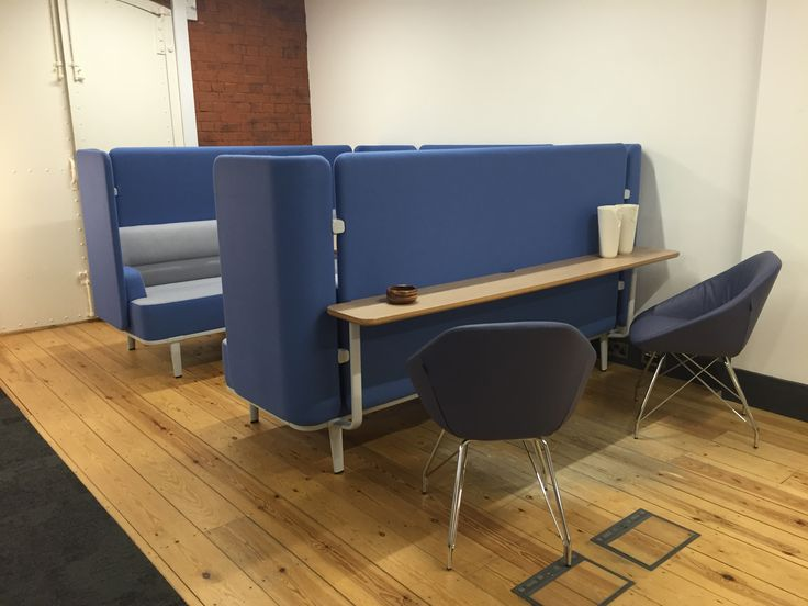 Allermuir at Clerkenwell Design Week 2016 Mote 3 seat sofas with rear and side screens, bridging screen and table. With Work shelf and low back Famiglia chairs