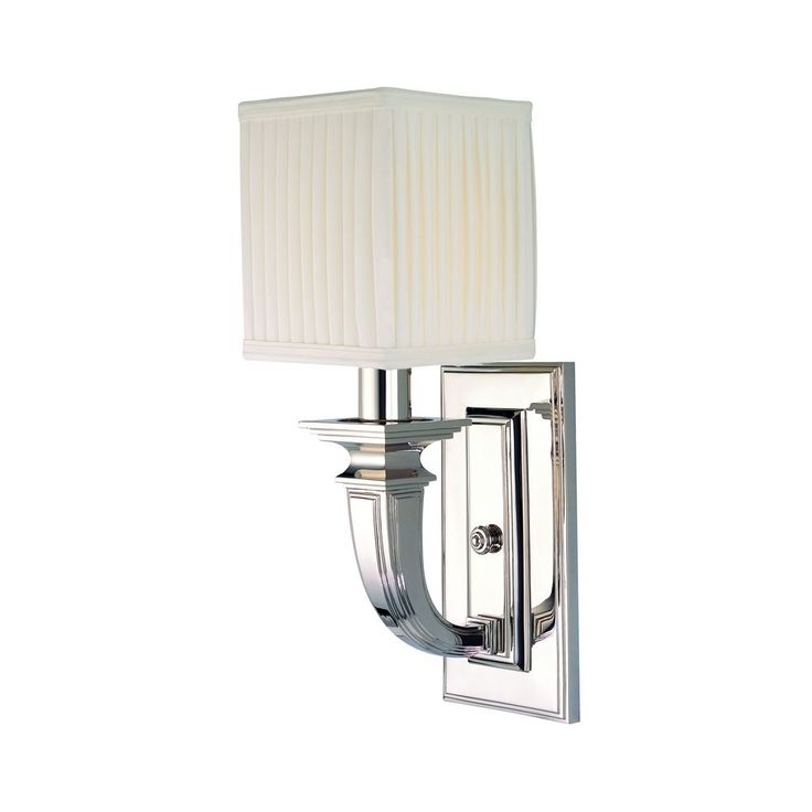 Hudson Valley Lighting Sconce Wall Light with White Shade in Polished Nickel Finish 541-PN