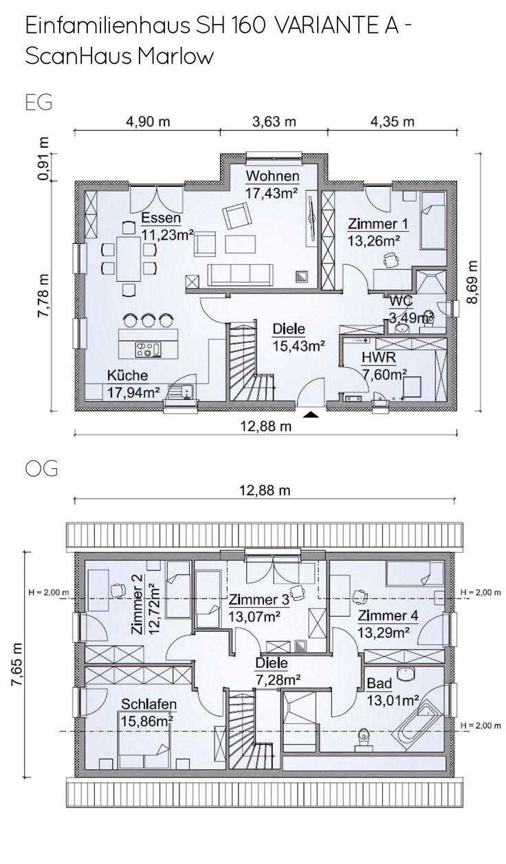 Grundriss Einfamilienhaus schmal mit Satteldach Ar…