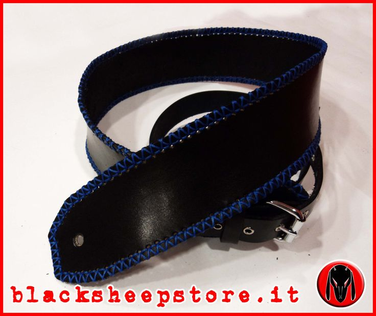 tracolla in cuoio con cuciture a mano, leather bass guitar strap, spessore 3mm made in Italy, rock, metal, metalhead di BlackSheepItaly su Etsy