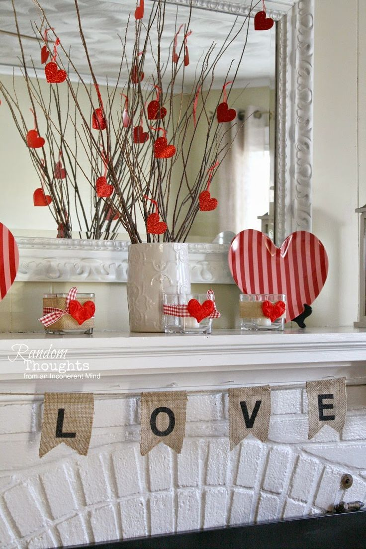 151 best mantels images on pinterest christmas mantels for Valentine decorations to make at home