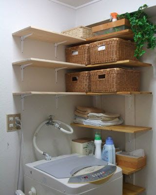 Organized laundry utility shelving. In a Japanese home.