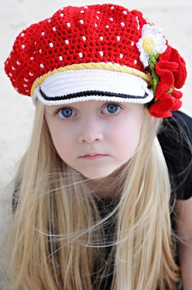 Polka Dots Crocheted Cap & Poppy Pin, pattern for purchase