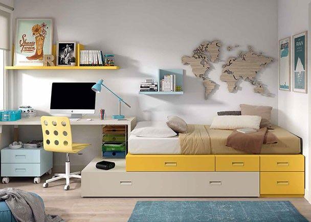 Dormitorio juvenil modular con zona de estudio.