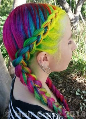 Braided Pigtail for Rainbow Hair