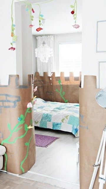 turn your kid's room into a kraft paper castle