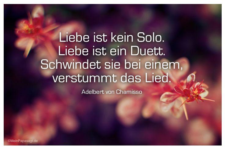Mein Papa sagt...  Liebe ist kein Solo. Liebe ist ein Duett. Schwindet sie bei einem, verstummt das Lied. Adelbert von Chamisso    #Zitate #deutsch #quotes      Weisheiten und Zitate TÄGLICH NEU auf www.MeinPapasagt.de