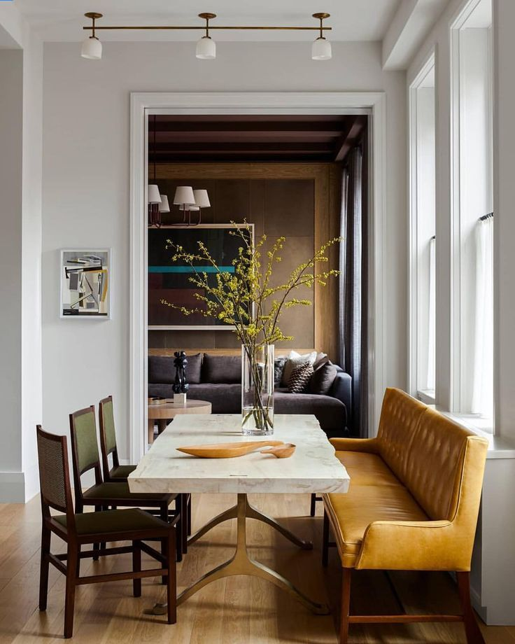 Love Mixing The Seating Around A Dining Table Large Mustard