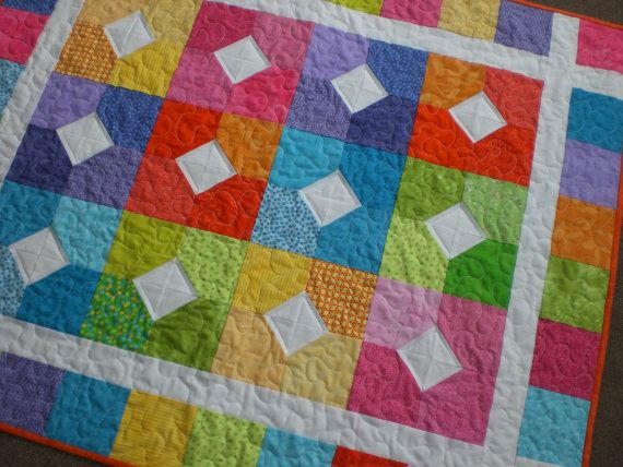 Baby quilt in bright colors | Beautiful, Quilt and Easy peasy