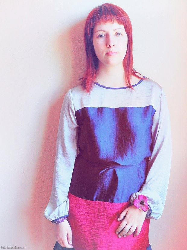 Wearing an Almatrichi three-colour dress