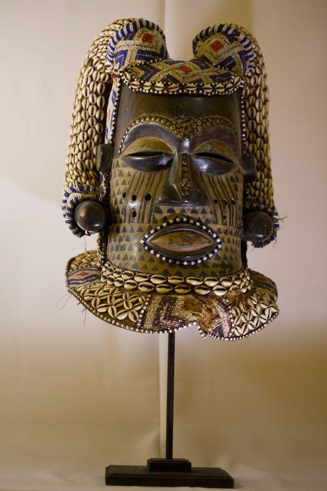 Kuba Helmet Mask Ram Horns - Africa Congo DRC