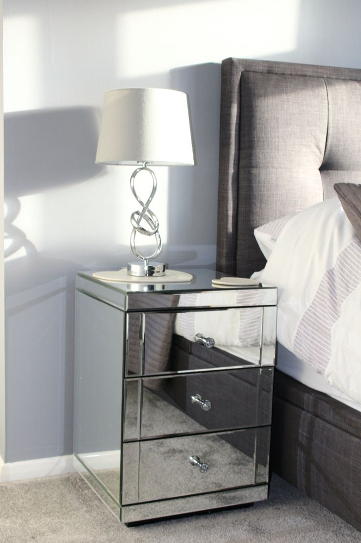 Mirror bedside cabinets for abit of glamour
