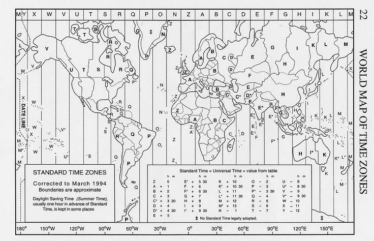 World Time Zone Conversion Chart