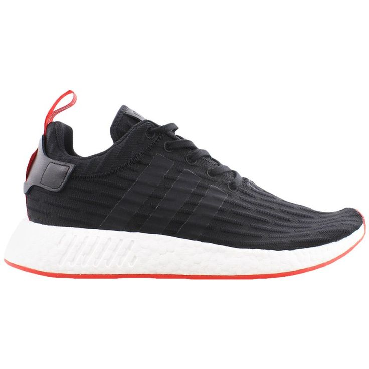 ADIDAS NMD PRIMEKNIT These men\u0027s Adidas NMD Primeknit sneakers feature a  look with its all black striped upper, icy white EVA plug midsole, and  bright red ...
