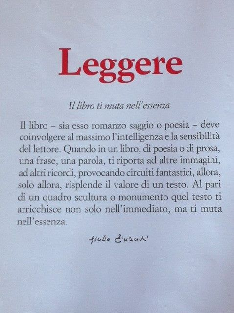Leggere, secondo Giulio Einaudi