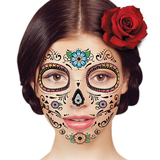 43 best day of the dead temporary tattoos images on for Halloween makeup tattoos