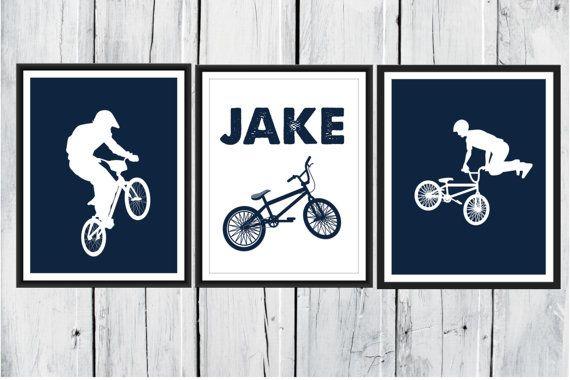 Bike Rider Print Set BMX 3 Piece Set Choose by TheEducatedOwl