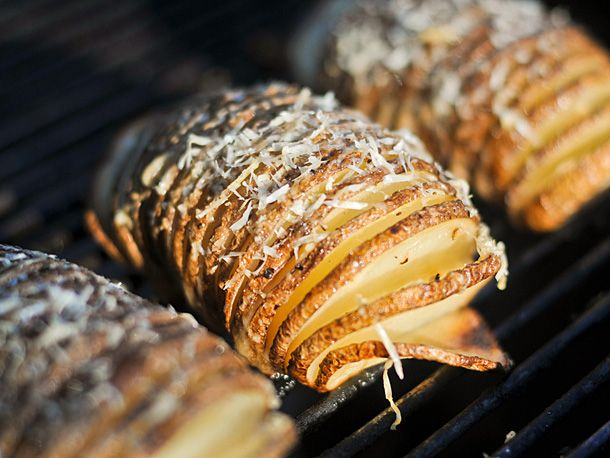 Hasselback Potatoes with Garlic and Parmesan from Serious Eats. http://punchfork.com/recipe/Hasselback-Potatoes-with-Garlic-and-Parmesan-Serious-Eats