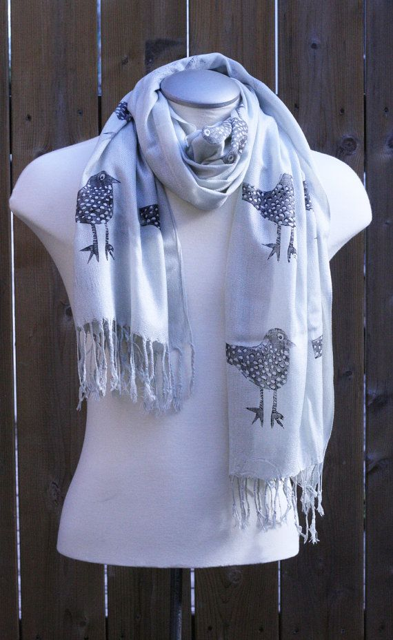 A soft lightweight grey pashmina scarf with fringe, hand printed with black birds, Tania Howells