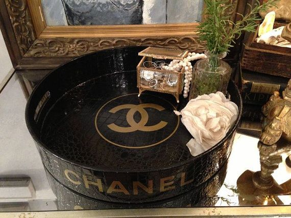 """16"""" Round Black and Gold Chanel Inspired Crocodile ..."""