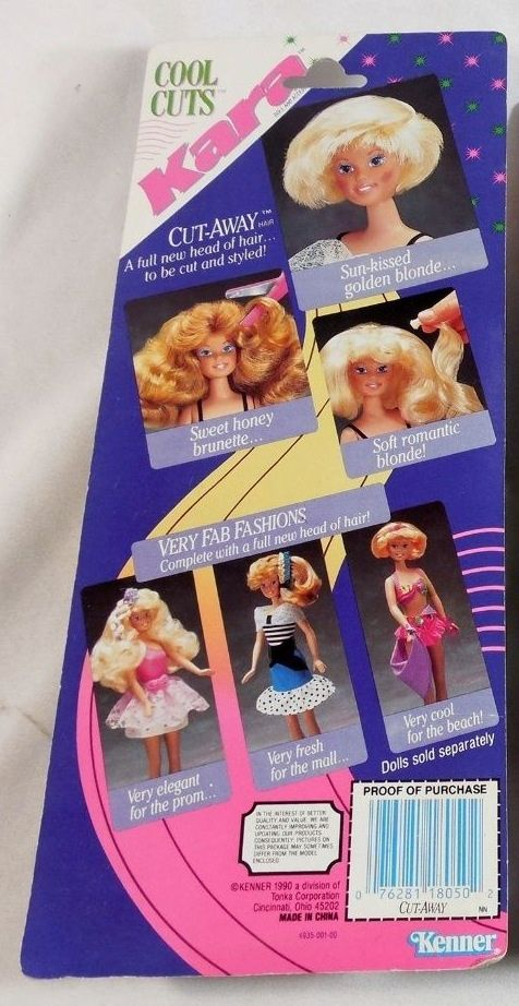 """Cool Cuts Kara doll Cut-Away Hair Sun-Kissed Blonde #18050 replacement hair pack purple packaging by Kenner, 1990, photo jabberwocky-sales.  """"Cut-Away Hair a full new head of hair...to be cut and styled!""""  There are 4 types of Cut-Away Hair for Kara, visit the MLP MIB Pinterest for the rest & more Cool Cuts Kara.  #mlpmibcom #coolcutskara  #coolcutskaradoll  #coolcutskaracutaway #kenner #kennertoys #doll #vintagedoll"""