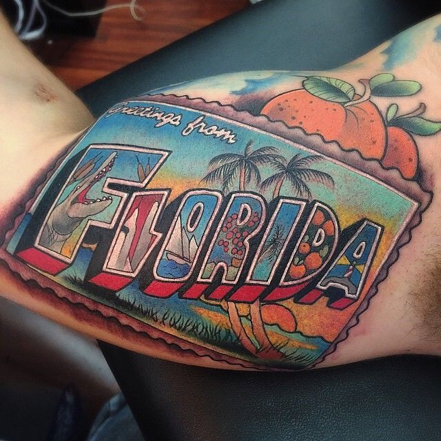 Florida tattoo by @tylernolantattoos at Vatican Tattoo Studio in Fort Lauderdale, FL #tylernolantattoos #tylernolan #vaticantattoostudio #fortlauderdale #florida #floridatattoo #tattoo #tattoos #tattoosnob