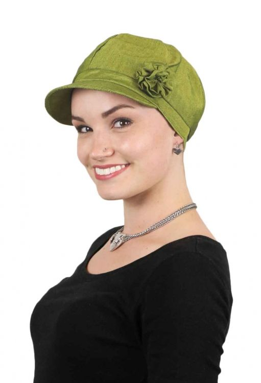 7bb40b5f4786a Brighton COTTON Newsboy Cap for Women. Chemo Hats for women full coverage  and fully lined.