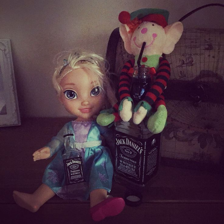 Our naughty Buddy & Elsa has been naughty drinking Daddy's Jack Daniels.