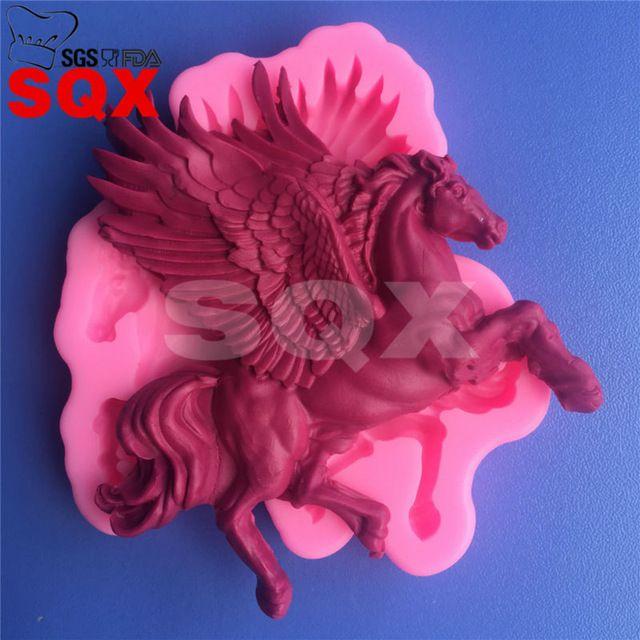 Molde de silicone cavalo alado, 3D estereoscópico molde fondant, ferramentas de decoração do bolo, moldes de sabão silicone, acessórios de cozinha MR82