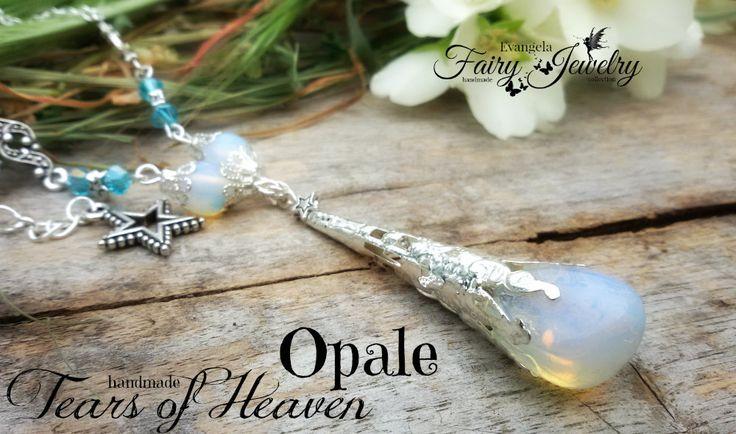 Collana opale naturale burattata e mezzi cristalli opalite, by Evangela Fairy Jewelry, 21,00 € su misshobby.com
