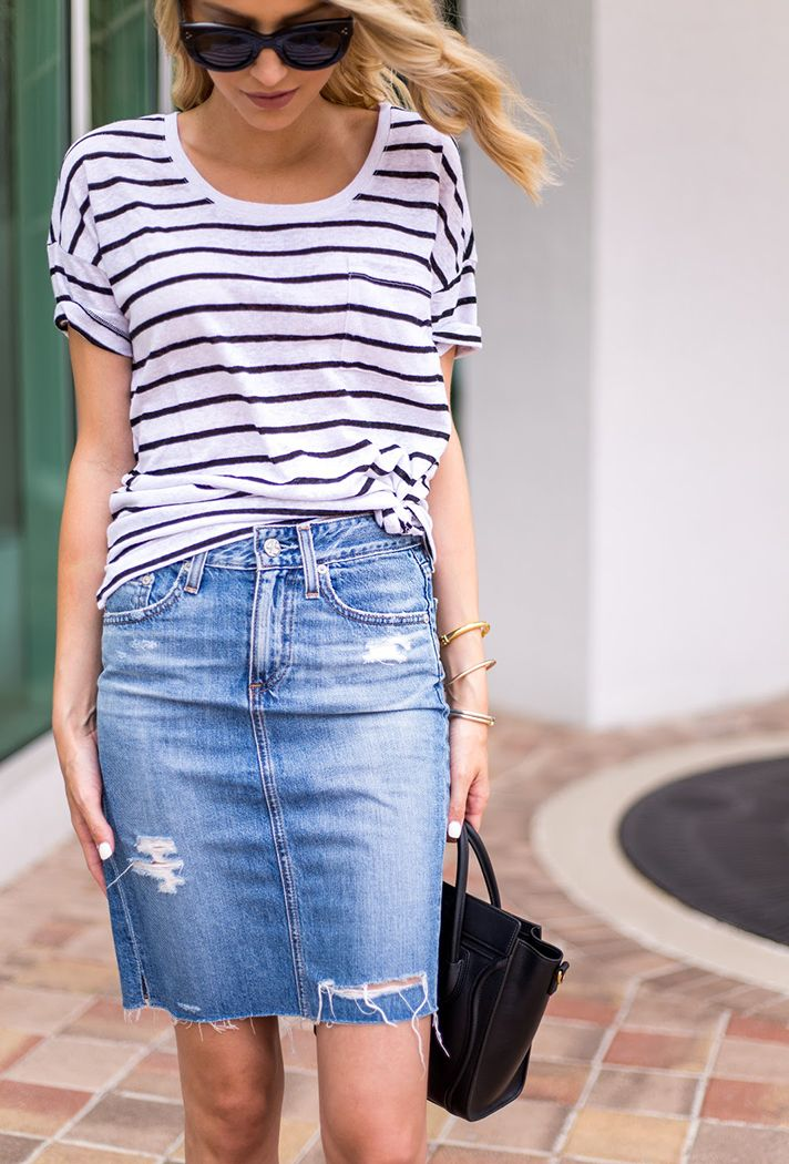 Check out these chic denim skirt outfit ideas and products at @stylecaster | 'Little Blonde Book' blogger