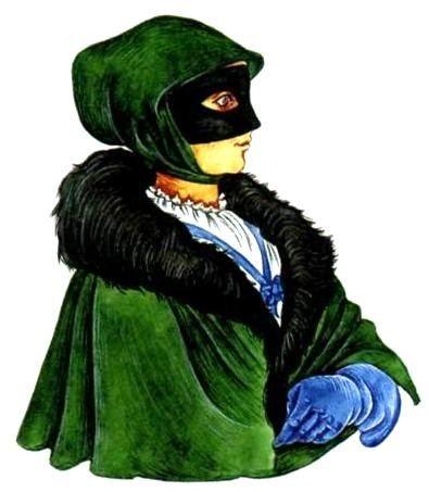 Escudo con una capa, una capucha y una máscara del polvo