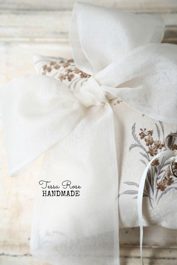 Vintage Inspired Ivory Satin Print Ring by TessaRoseHandmade