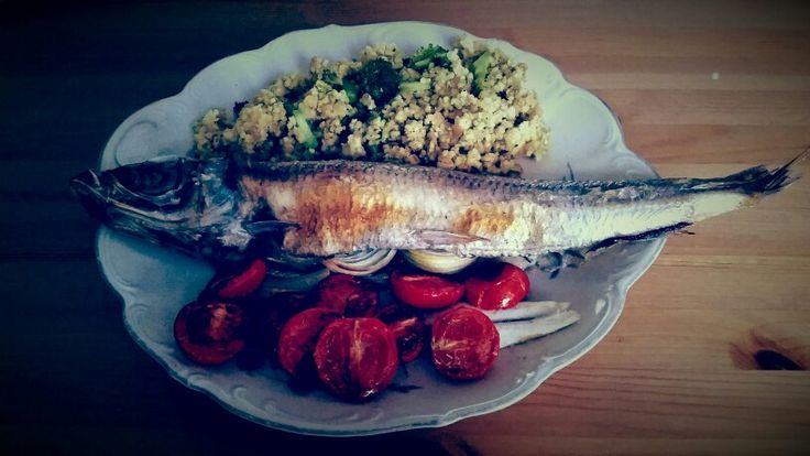 Grilled trout with broccoli millet and red lentils