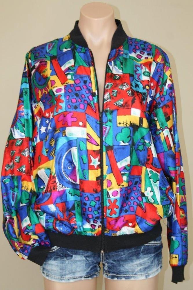 80s Vtg Bomber Jacket Hip Hop Stars Moon Shapes Oversized Jacket sz S M #ImpressionsofCalifornia #Bomber