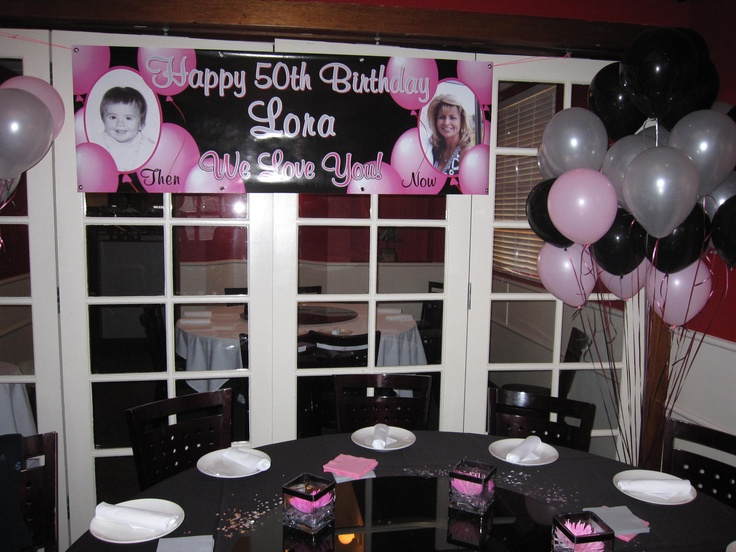 Birthday party decor theme pink silver black 50th for 50th birthday party decoration